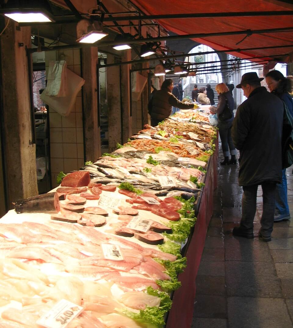 Fish stall of Rialto Market in Venice