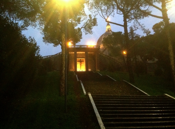 Arriving on foot at dusk at the Santuario della Santa Casa, Loreto